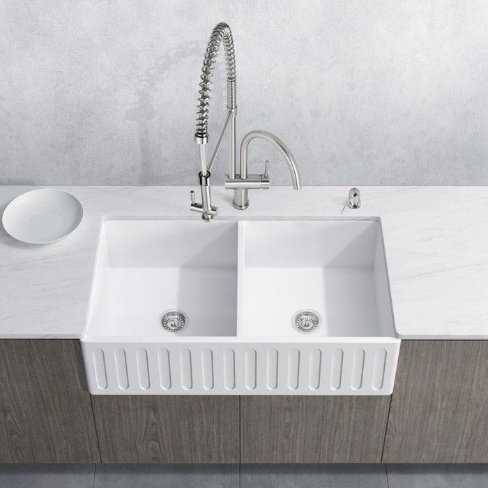 Vg15458 All In One 33 Matte Stone Farmhouse Kitchen Sink Set With Aylesbury Faucet In Stai Stone Farmhouse Kitchen Sinks Kitchen Design Farmhouse Sink Kitchen