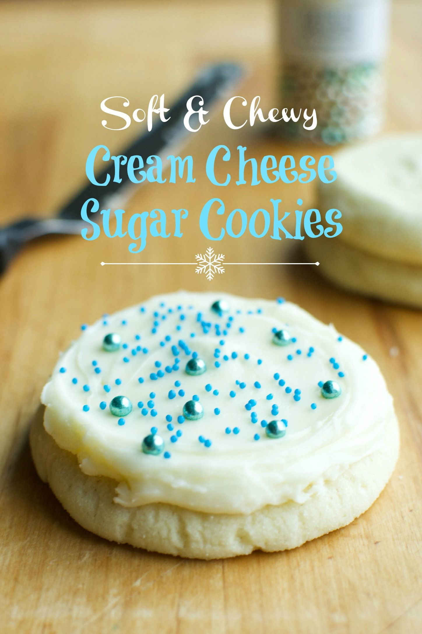 Soft & Chewy Cream Cheese Sugar Cookies - A baJillian Recipes #creamcheesefrosting
