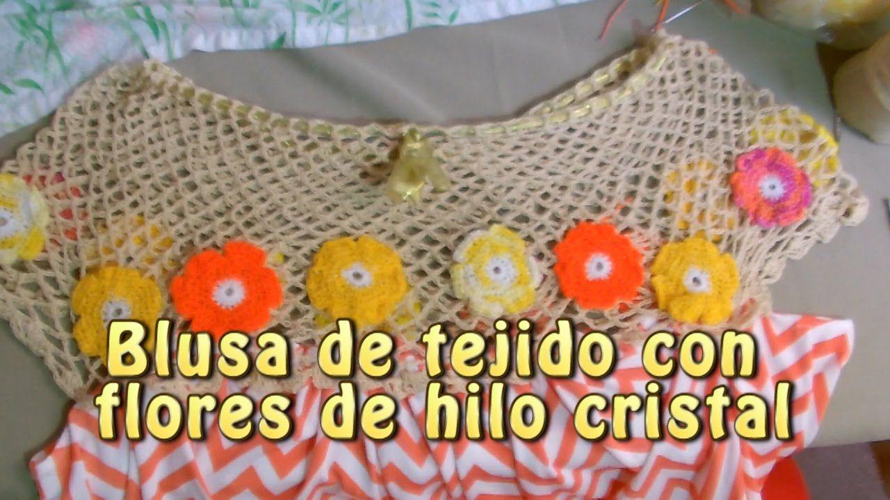 Blusa de tejido con flores de hilo cristal Creaciones y