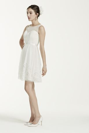 Short Mesh Dress With Illusion Sweetheart Bodice Style Ej4m5197