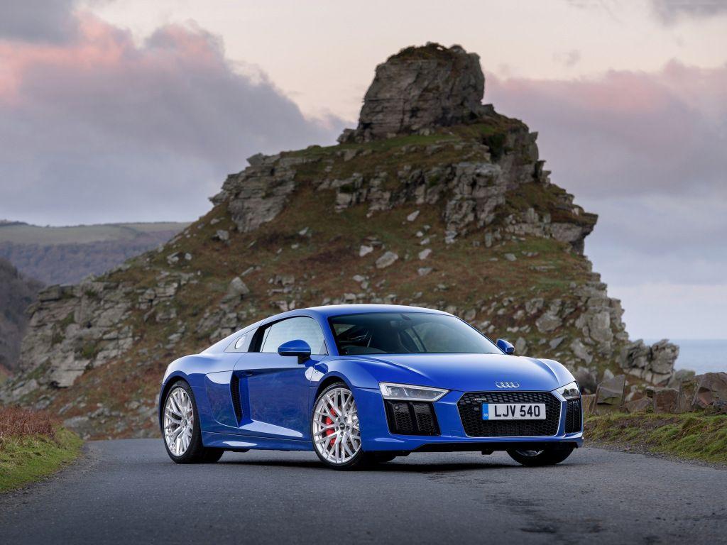 2018 Audi R8 V10, Blue Car, Front Wallpaper