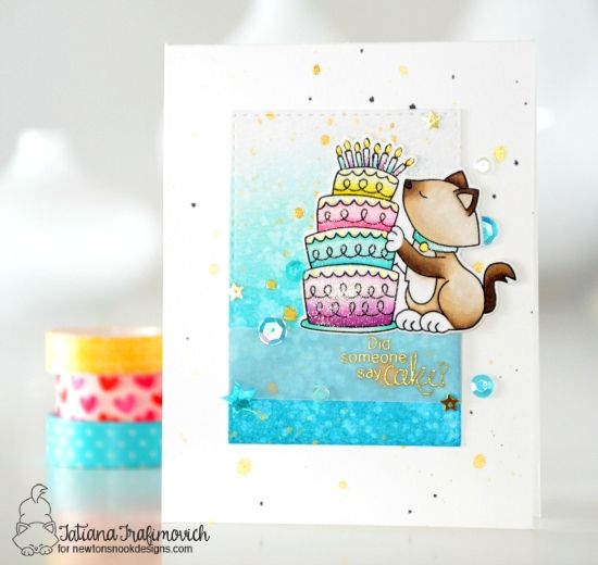 Cat and cake Birthday card by Tatiana Trafimovich | Newton Loves Cake Stamp Set by Newton's Nook Designs