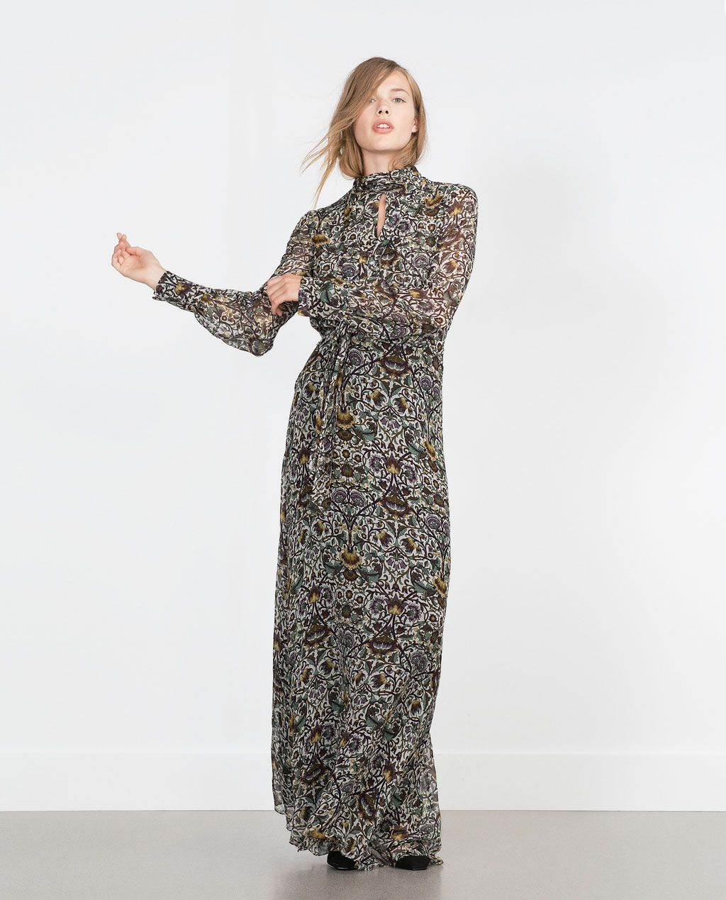 printed long sleeve maxi dress - view all - woman - new in