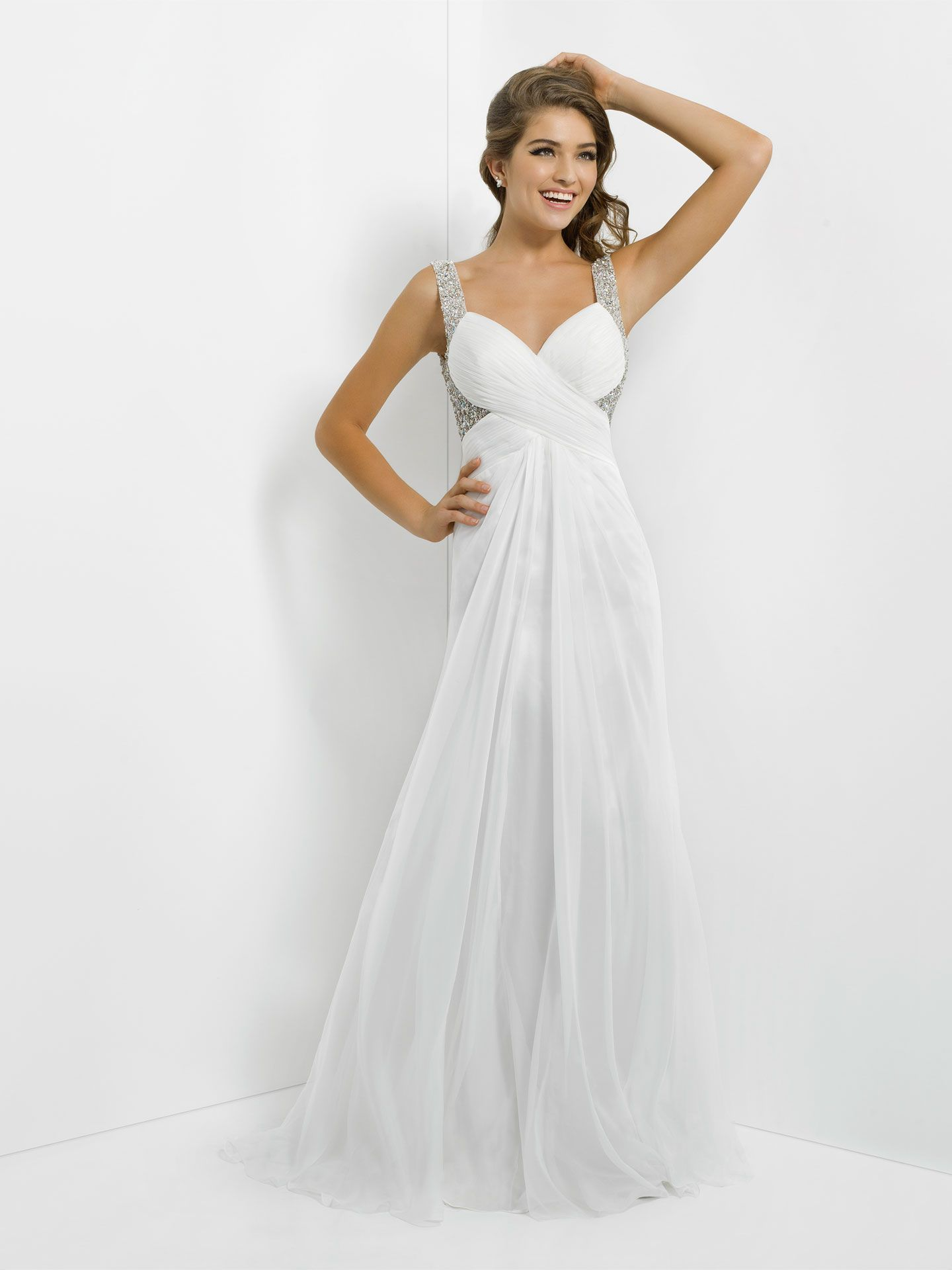 stunning white prom dresses blush and crystals