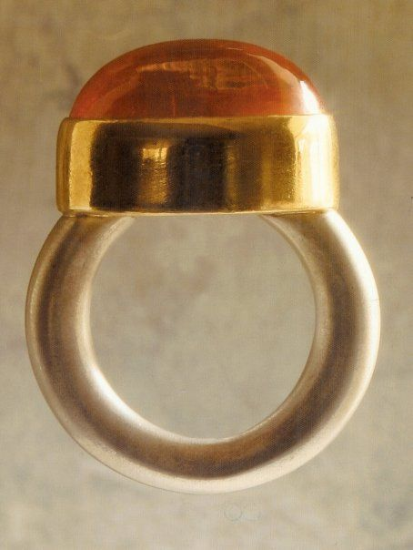 citrine set in 22k gold with sterling band by Michele Delville