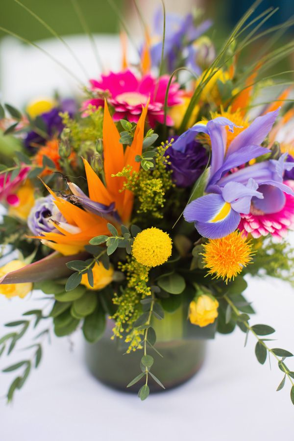 Vibrant centerpiece photo by sarah layne photography