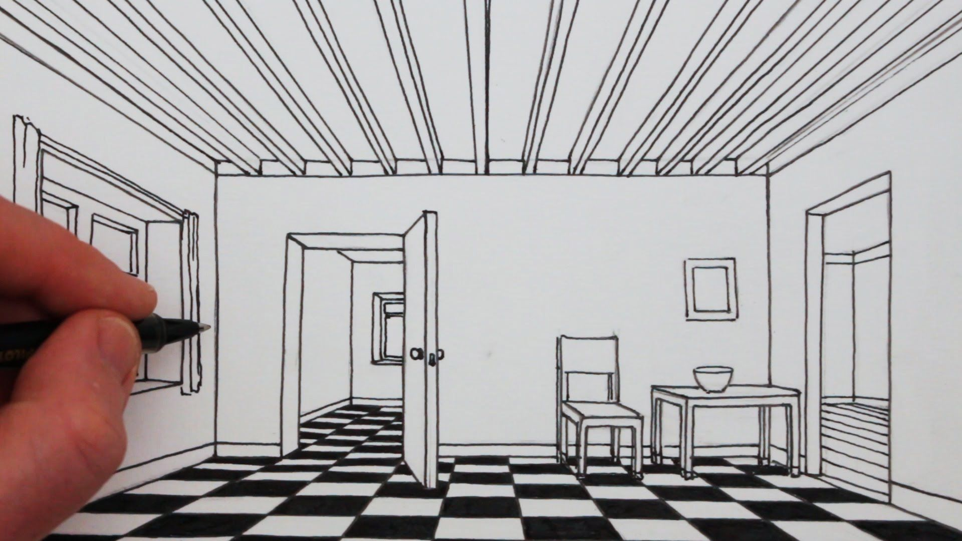 How To Draw A Room In 1 Point Perspective Narrated Drawing Perspective Room One Point Perspective Room One Point Perspective