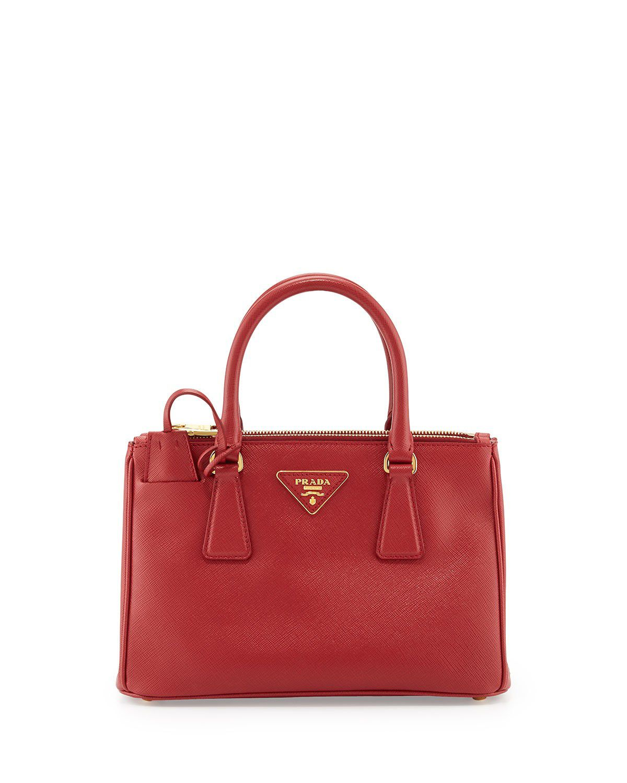 db3551654c3f Prada Saffiano Double-Zip Mini Crossbody Red  fashionhandbags Prada Bag