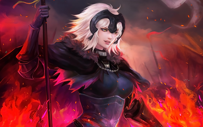 Download Wallpapers Jeanne Alter 4k Fire Fate Grand Order Manga Avenger Type Moon Besthqwallpapers Com Jeanne Alter Fate Anime Series Anime