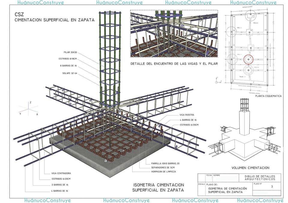 Cimentacion Superficial En Zapata Construccion De Edificios Detalles Constructivos Constructivo