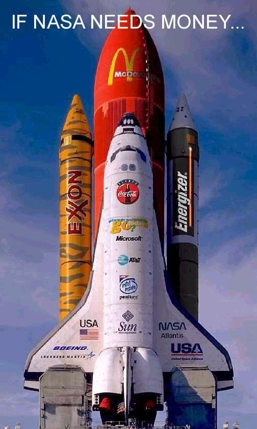 Resultado de imagen para cohete espacial con publicidad