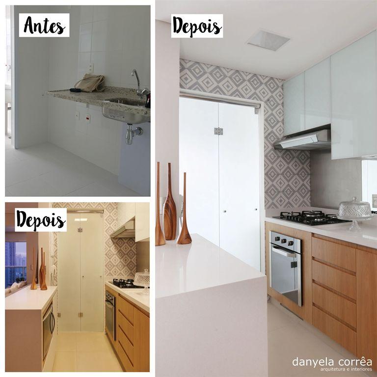 Adesivo Luz De Led ~ Antes e Depois Cozinha integrada, bancada em pedra Caeserstone, armário inferior em mdf
