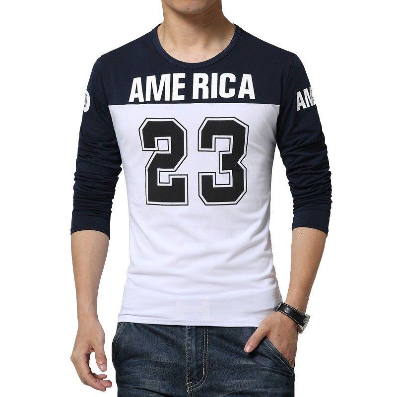 5c8902f397 Camiseta America 23 Masculina Esporte Colegial Manga Longa Casual ...