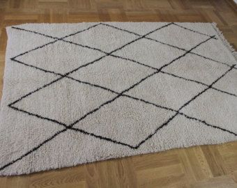 Berber teppich muster  beni ourain schwarze muster berber teppich atlas rug handgeknüpft ...