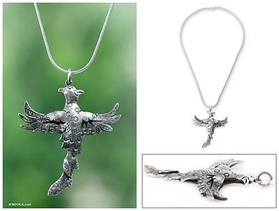 Sterling silver pendant necklace, 'Maya Pheasant' - Sterling silver pendant necklace