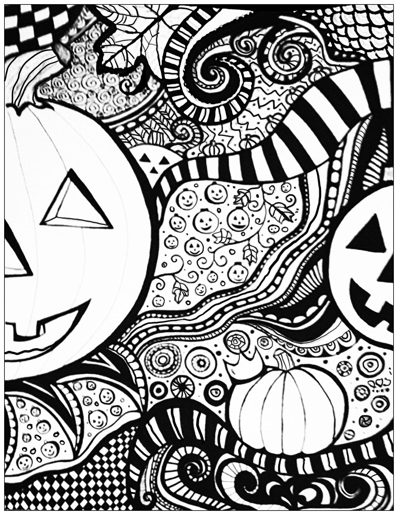 Coloring pages for adults zentangle - Halloween Zentangle Pumpkin Adult Coloring Page