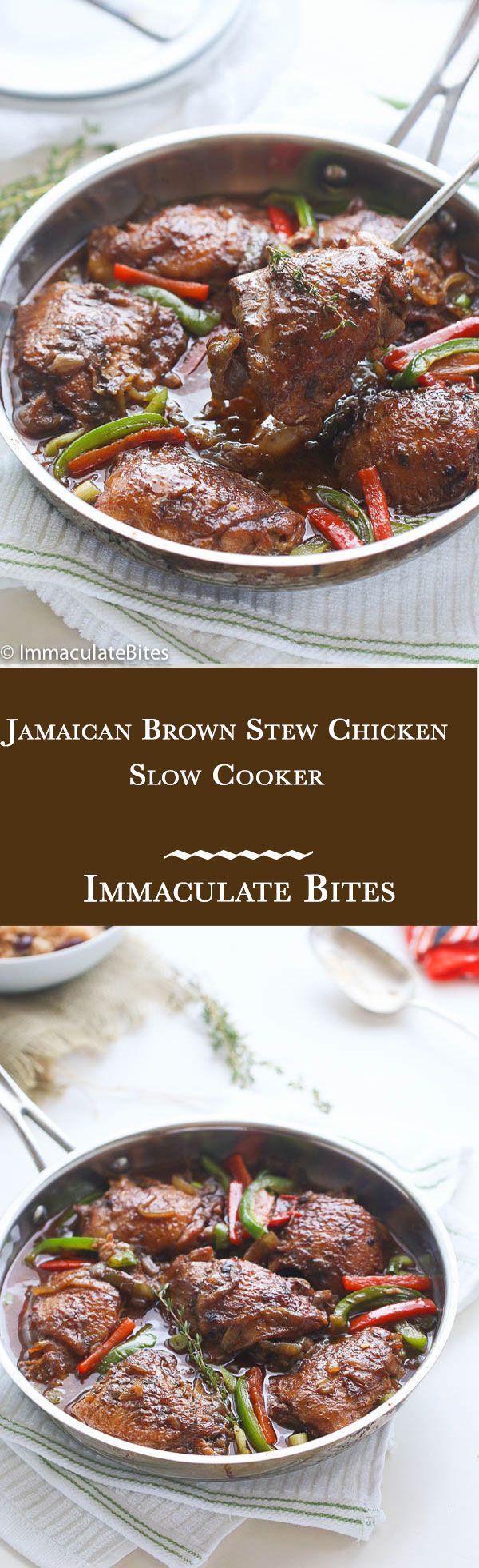 slow cooker jamaican brown stew chicken  recipe  food