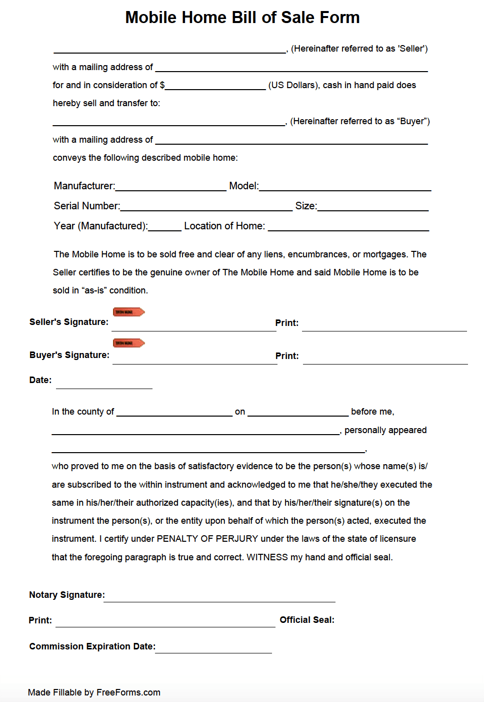 A Mobile Home Bill Of Sale Form Integrates A Paper Transaction Record To The Sale Of A Manufactured Home Fo Contract Template Mobile Home Bill Of Sale Template