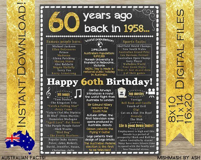 60th birthday chalkboard, 60th birthday poster, back in
