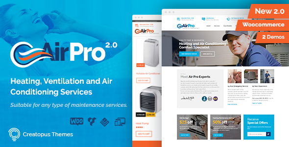 Airpro Heating And Air Conditioning Wordpress Theme For Maintenance Services Heating And Air Conditioning Conditioner Heat