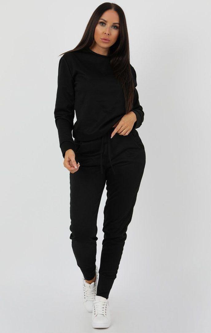 Black Boxy Long Sleeve Loungewear Set - Jinell