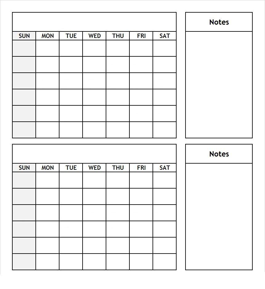 two months calendar template