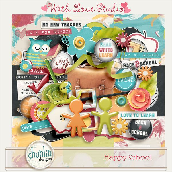 Happy school - digital scrapbooking kit from Chunlin Designs. This fun and colorful kit will spark your creative juices flowing and your layouts pop.