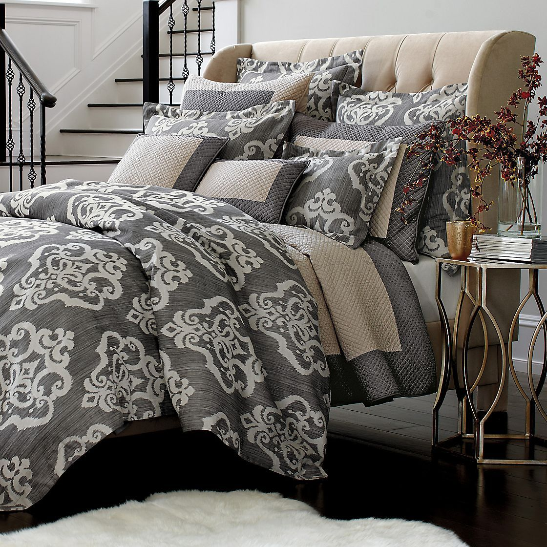 """I""""m looking for grayish bedding to match our new room"""