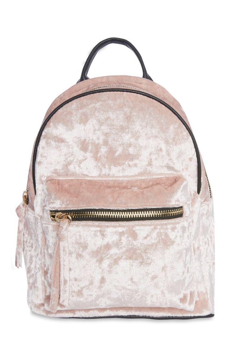 de82d15edf20 Primark - Pink Crushed Velvet Backpack