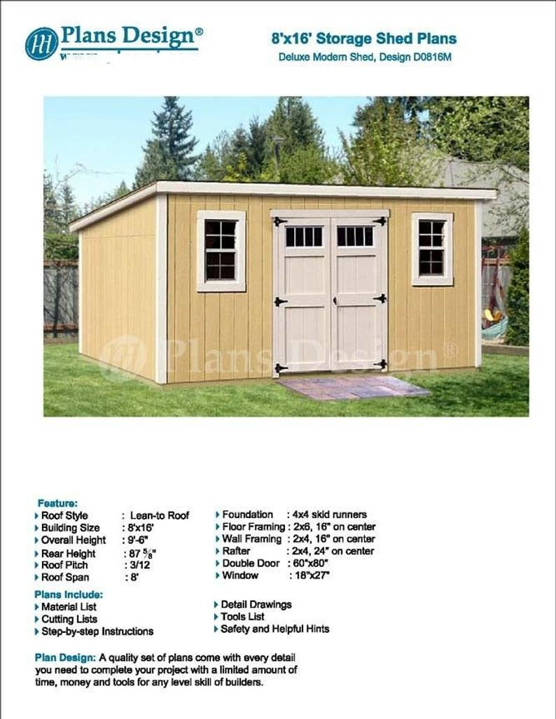 8 X 16 Deluxe Shed Plans Modern Roof Style Design Etsy In 2020 Shed Plans Modern Shed Diy Shed Plans