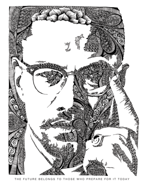 Malcolm X Illustration Freddie D Art Illustration Poster Art