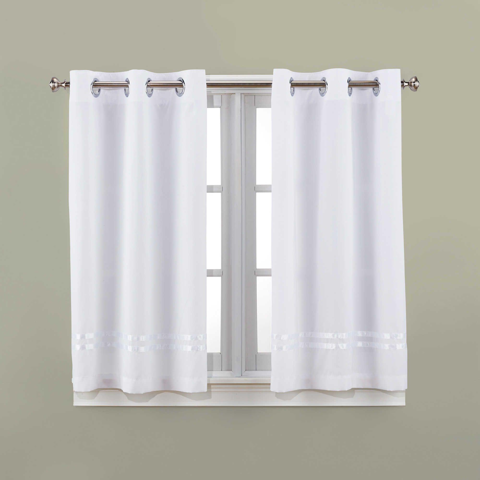 Hookless Escape 45 Inch Bath Window Curtain Panels In White Bath Window Window In Shower Bathroom Window Curtains