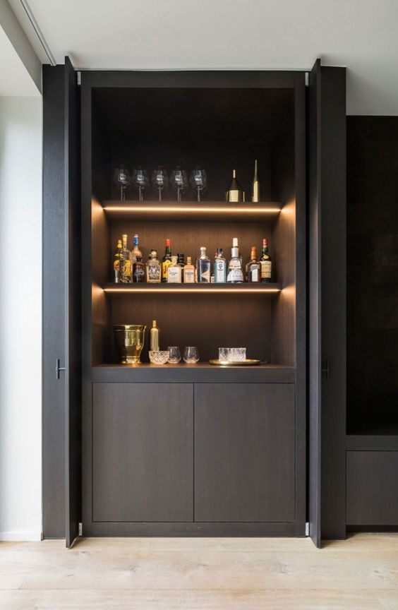 Bar Concept Living Dining Off Kitchen In Black Timber