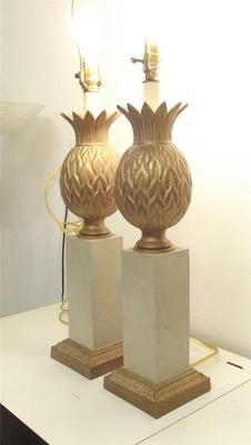 PR Vintage Mid Century Modern Gold Metal Heyco Pineapple Lamps Hollywood Regency   eBay