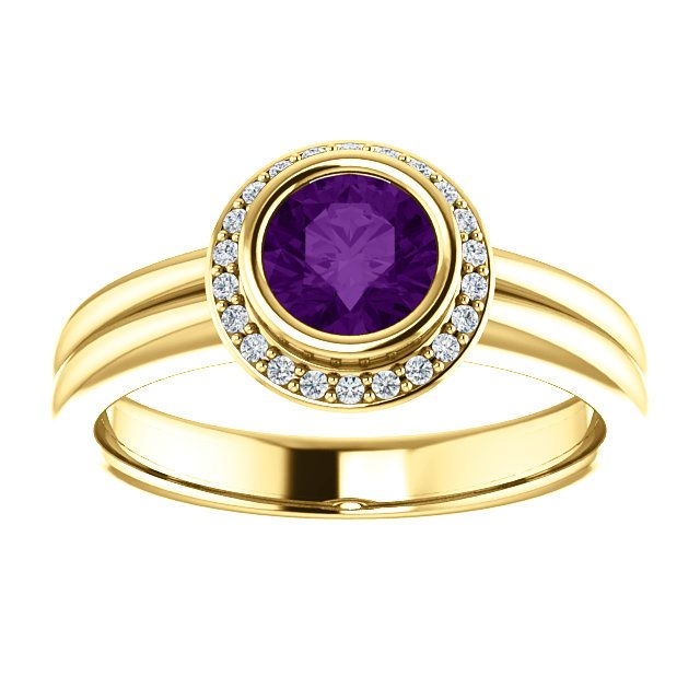 14kt Yellow Gold 5.5mm Center Round Amethyst and 22 Accent Genuine Diamonds Engagement Ring...(ST122230:624:P).! Price: $509.99 #diamonds #ring #gold #bezelring #fashion #jewelry #jemstone