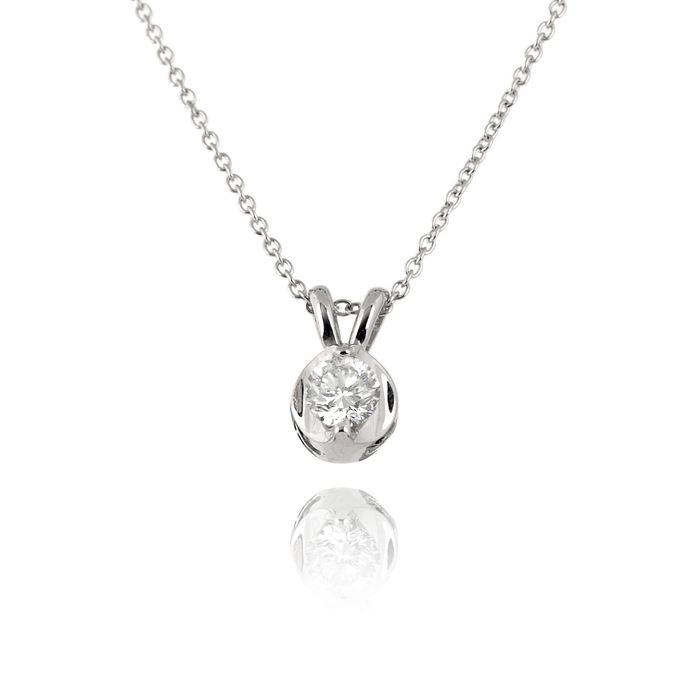Diamond solitaire pendant setting solitaire diamond pendant with diamond solitaire pendant setting solitaire diamond pendant with sleek setting in 14k white gold mozeypictures Choice Image