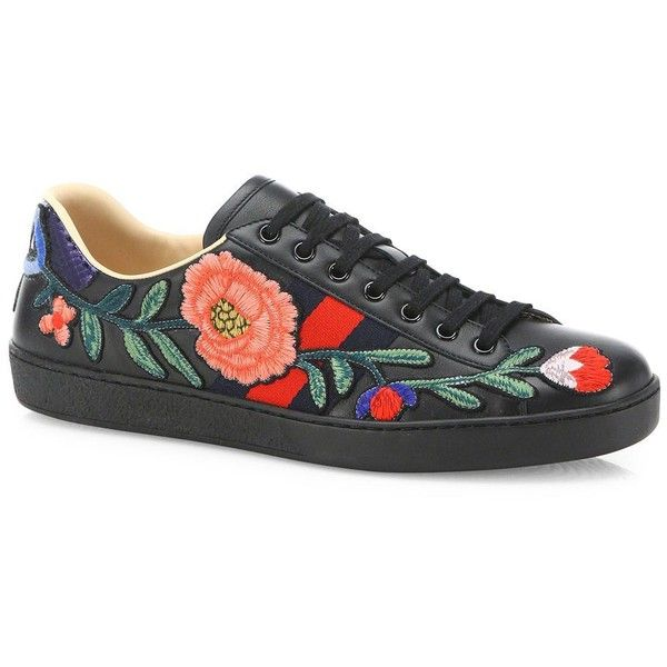 7023d4b32 Gucci Floral Leather Low-Top Sneakers ($730) ❤ liked on Polyvore featuring  men's fashion, men's shoes, men's sneakers, apparel & accessories, black  multi, ...