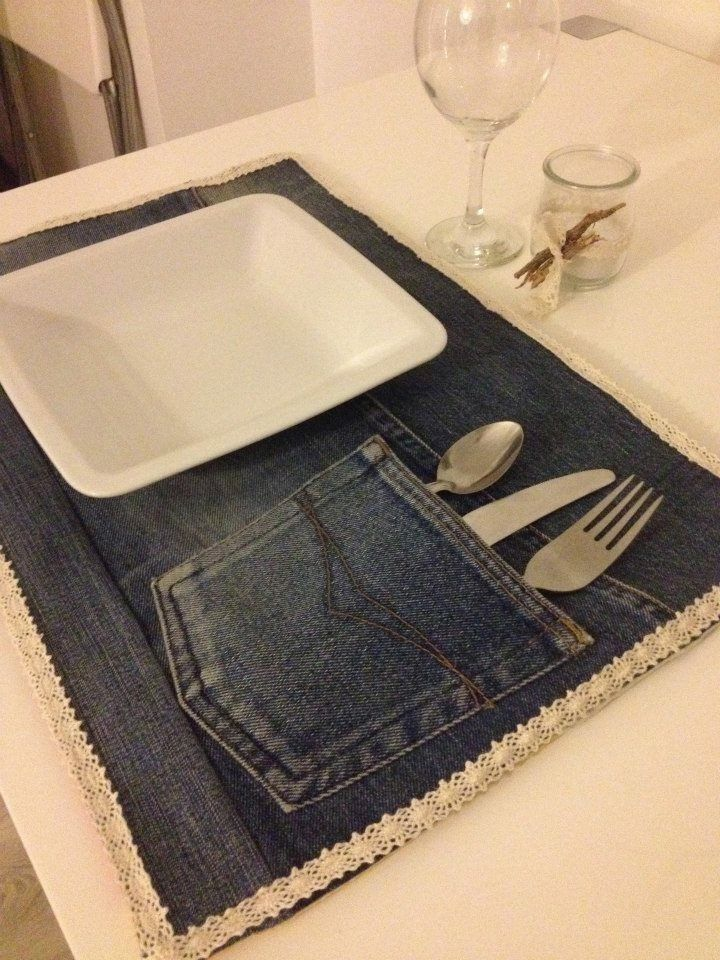 set de table en jeans fait main par ela eu prix l 39 unit 35 le lot de 4 105 table de