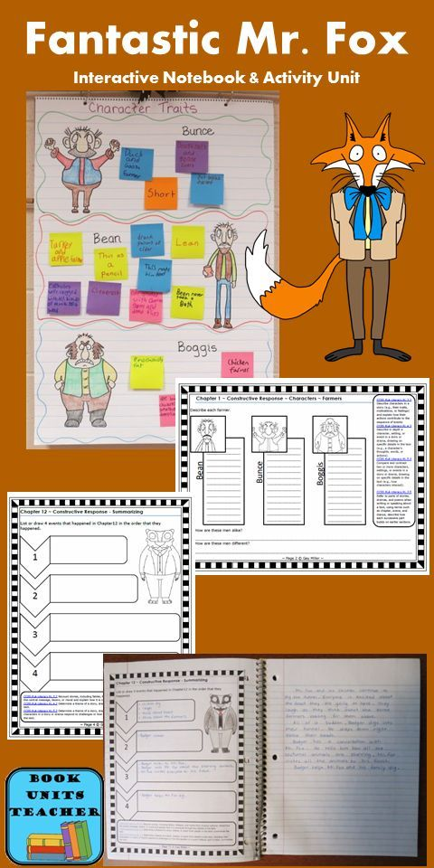 Free Samples From Fantastic Mr Fox Book Unit Novel Study Activities Interactive Notebook Activities Interactive Notebooks