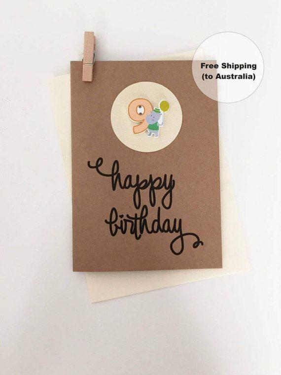 9th Birthday Card 9th Happy Birthday Card Age 9 Happy Birthday