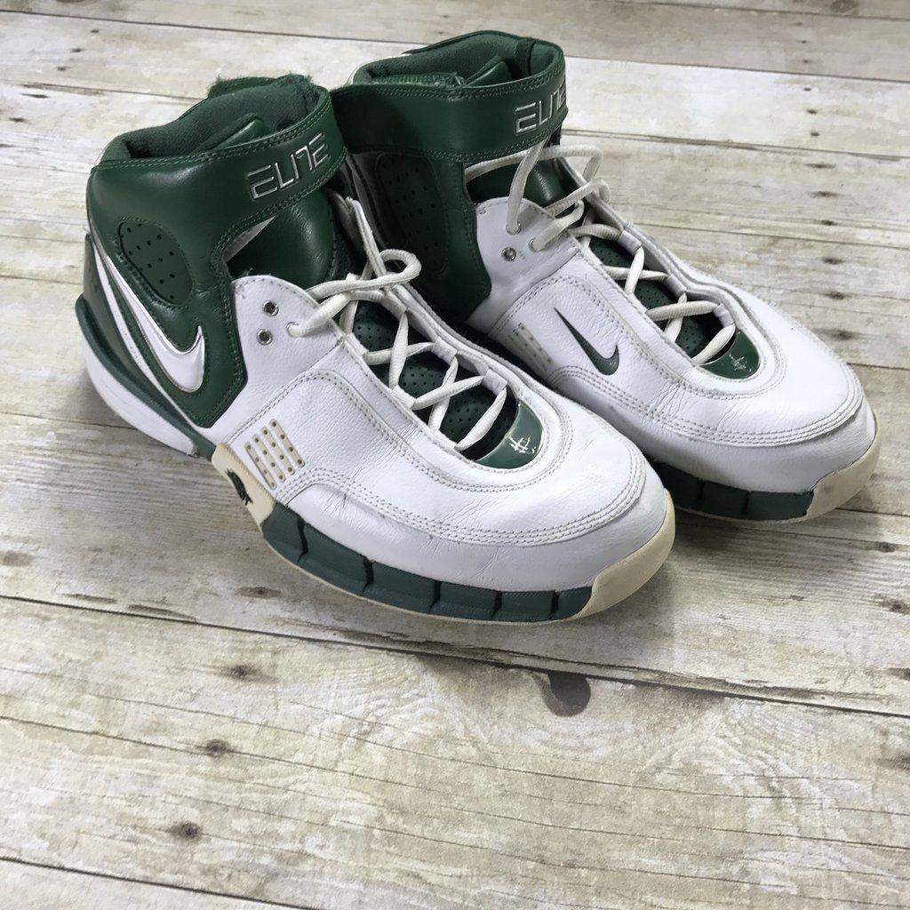 ... 2006 nike air huarache elite hi top basketball shoes white green mens  size 10.5 93788c6e6