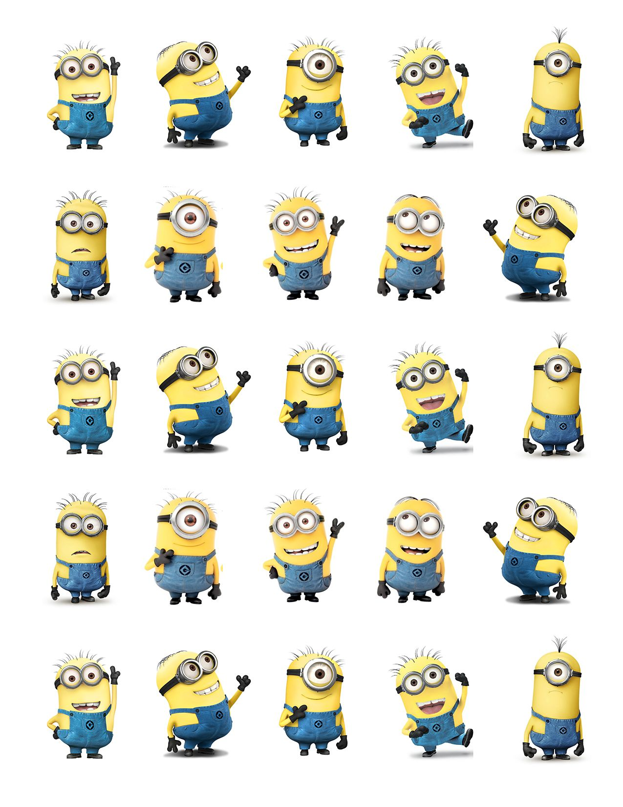 Despicable Me Minions Printable Party Approx 1 5 Height Cutouts For Cupcakes Favors Toppers Stickers Minion Printables Minion Party Minion Birthday