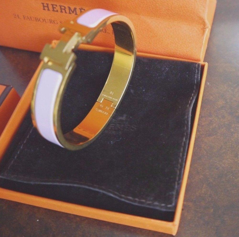 Hermes clic clac enamel bangle h bracelet rose pink gold plated gm
