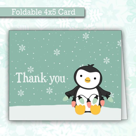 Cute Christmas Penguin Thank You Cards  Foldable Thank You Notes