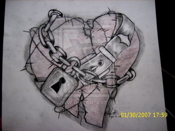 Chain Wrapped Heart With Images Broken Heart Drawings Heart