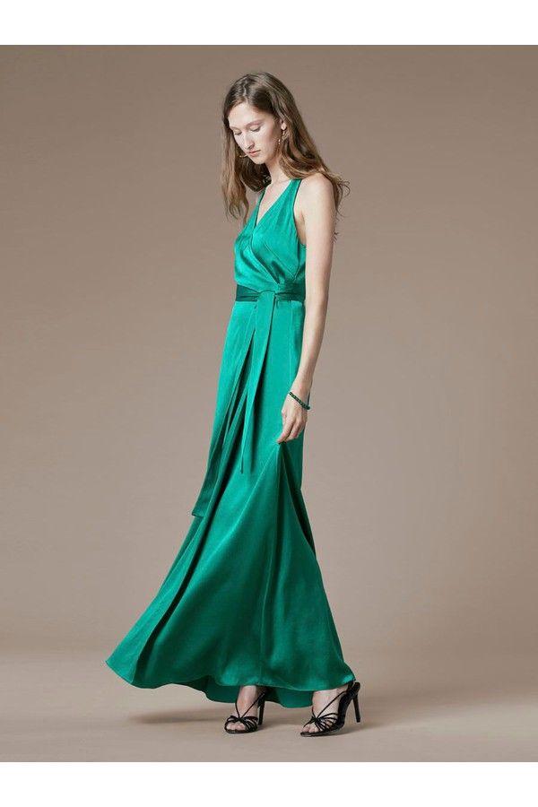 Diane von Furstenberg Sleeveless Floor-Length Wrap Dress green ...