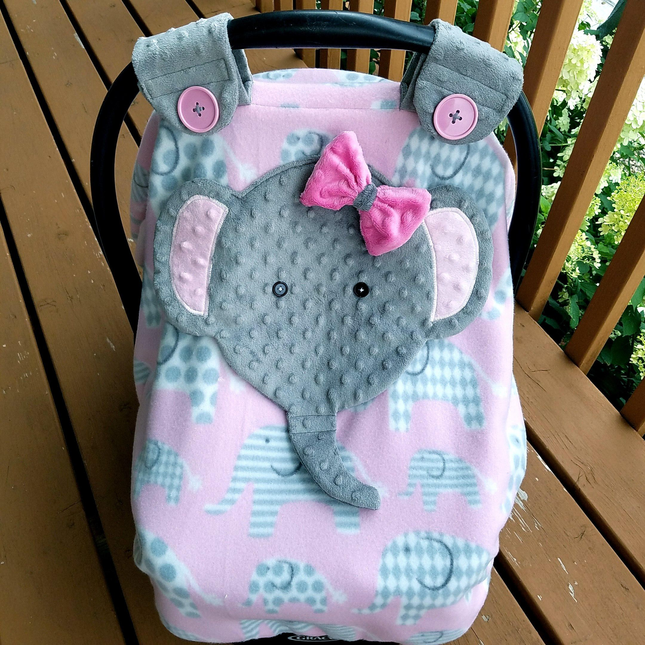 Made To Order Girls Fitted Elephant Carseat Canopy With Peek A Boo Opening Minky Fleece By Lind Baby Girl Elephant Baby Elephant Nursery Baby Girls Nursery