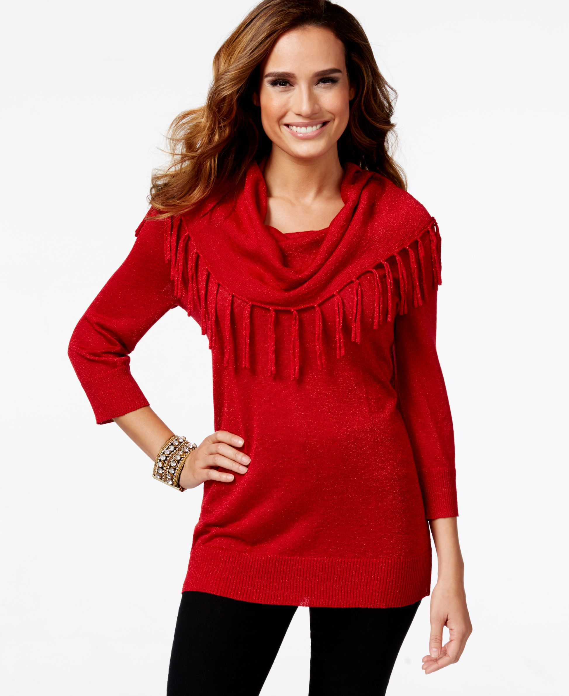 Ny Collection Petite Fringe Cowl-Neck Sweater | Products ...