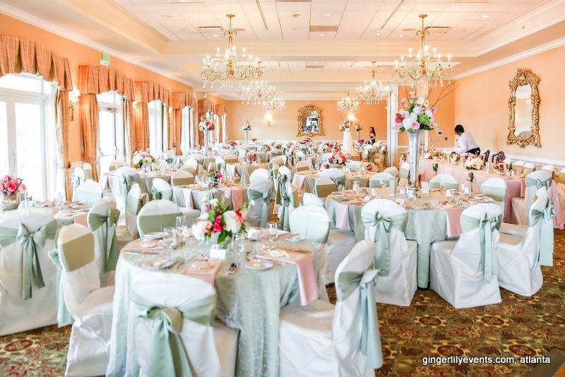 Beautiful setting for an English country wedding breakfast.  At Marietta Country Club, Marietta, GA.