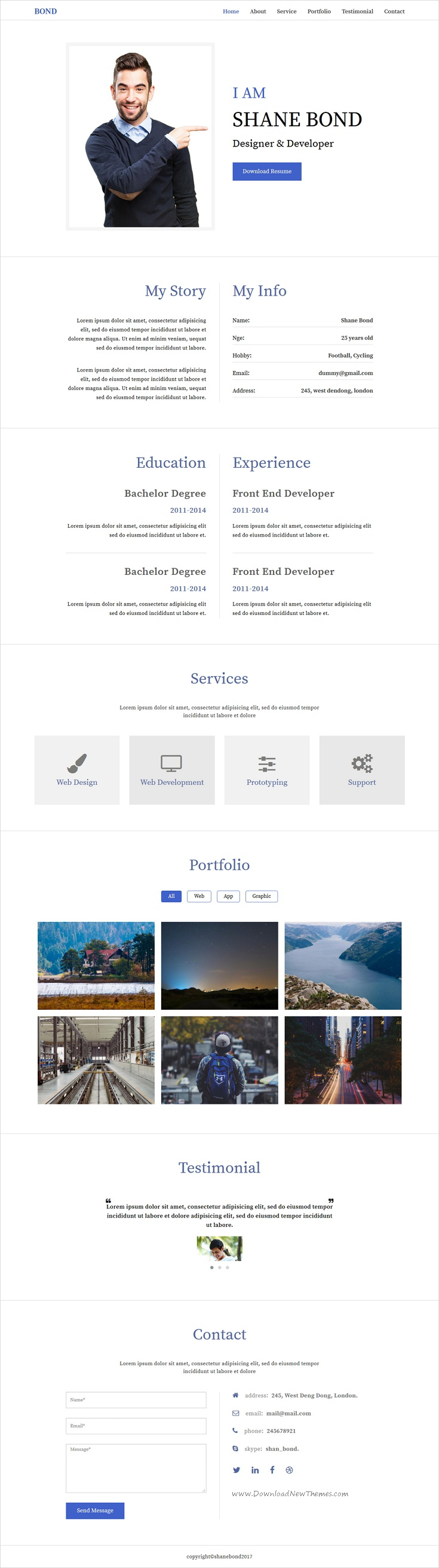 Bond is clean and modern design #bootstrap template for professional #resume, CV and #portfolio showcase website download now..